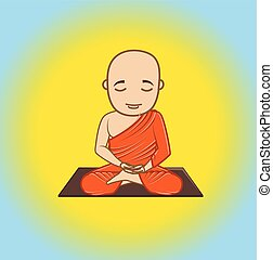 Buddhist Monk Character Vector Illustration