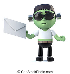 3d Child frankenstein monster has mail - 3d render of a cute...