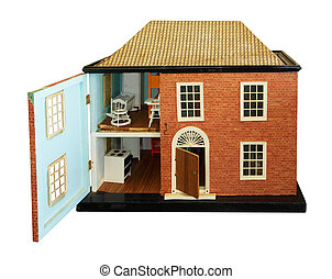 Antique Dolls House with open front isolated with clipping...