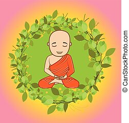 Buddhist Monk Doing Meditation Vector Illustration