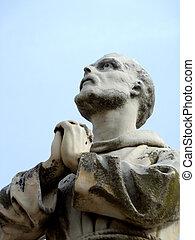 imádkozás, szerzetes, szobor