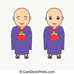 Chinese Monk Characters Vector Illustration