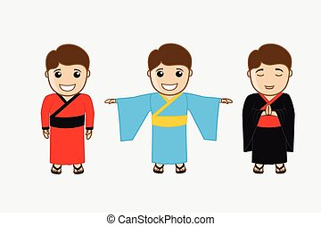 Chinese Kung-Fu Fighters Vector Illustration