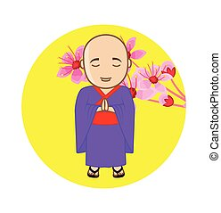 Japanese Monk on Flowers Background Vector Illustration