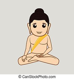 Cartoon Mahavira Saint Character Vector Illustration