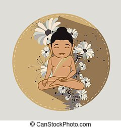 Saint Mahavira Doing Meditation Vector Illustration