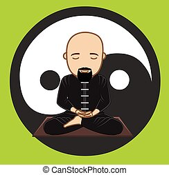 Taoism Monk Meditation Concept Vector Illustration