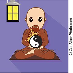 Chinese Monk with Yin-Yang Symbol Vector Illustration