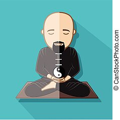 Meditating Taoism Monk with Yin-Yang Symbol Vector...