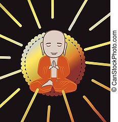 Devotee Buddhist Monk Vector Illustration