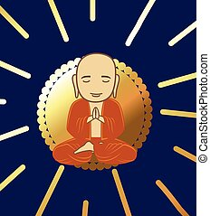 Devotee Buddhist Monk Illustration - Devotee Buddhist Monk...