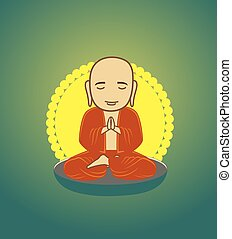 Bhikkhu Monk Praying Vector Illustration