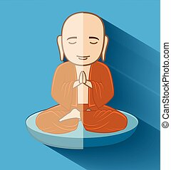 Buddhist Bhikkhu Monk Vector Illustration