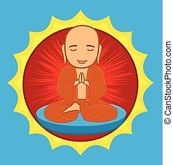Divine Buddhist Monk - Cartoon Divine Buddhist Monk Praying...