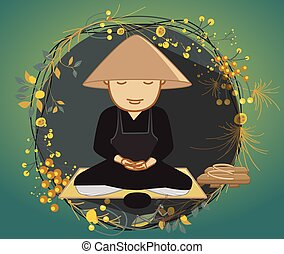 Chinese Monk Meditation Concept Vector Illustration