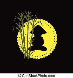 Chinese Monk Vector Silhouette Design