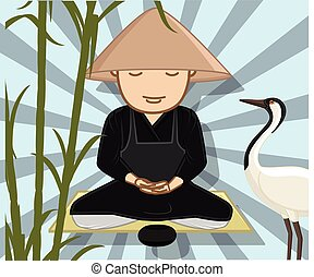 Monk Meditating with Grateful Crane - Chinese Monk...