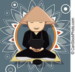 Chinese Monk Meditating Vector Illustration