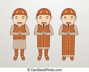 Kung-Fu Monk Characters Vector Illustration