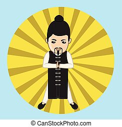 Kung-Fu Monk in Action Vector Illustration