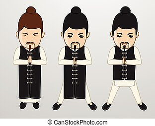 Kung-Fu Monks Character Poses Vector Illustration