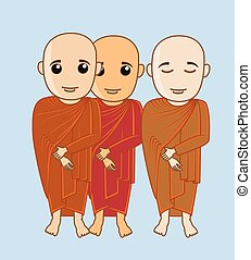Tibetan Monks Characters Vector Illustration