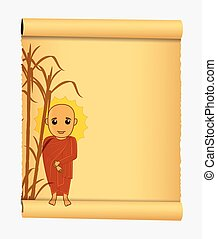 Tibetan Monk Parchment Banner Vector Illustration