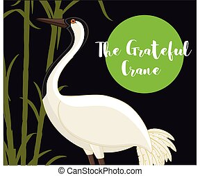 The Grateful Crane Bird Vector Illustration