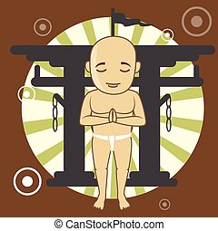 Kung-Fu Monk in Shinto Vector Illustration