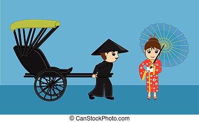 Geisha Waiting for Rickshaw Vector