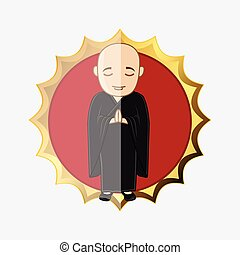 Japanese Kung-Fu Trainee Vector Illustration