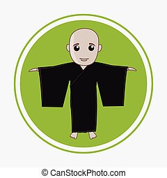 Japanese Kung-Fu Master Vector Illustration