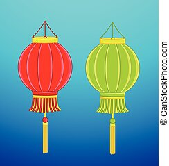 Set of Two China Lantern Vector