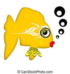 Attractive Fish - Pretty fashionable romantic gold fish with...