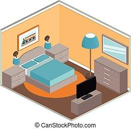 Bedroom interior in isometric style