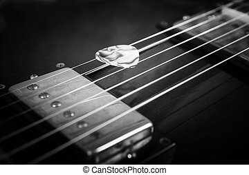 Acoustic guitar. Black-and-white image - Acoustic guitar...