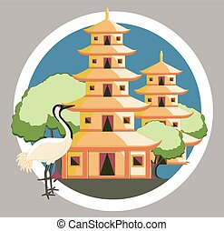 Religious China Temple with Crane - Religious China Temple...