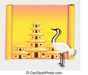 Crane Bird with Shinto Temple Parchment Banner Vector...