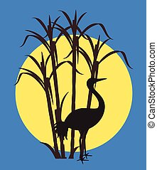 Grateful Crane Silhouette in Moonlight Vector Illustration