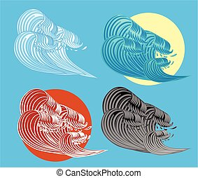 The Great Wave off Kanagawa Vector Illustration