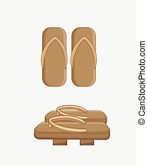Traditional Wooden Sandals Vector Illustration