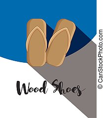 Wood Shoes Vector Template Illustration