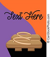 Retro Wooden Clog Vector Template
