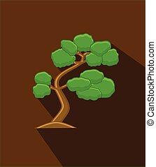 Green Bonsai Tree Vector Illustration