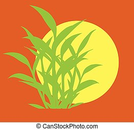 Green Leaves Silhouettes Vector Background