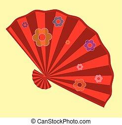 Red Flowers Folding Fan Design Vector Illustration