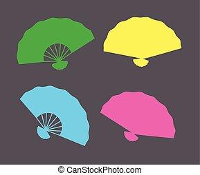 Colorful Folding Fans Shapes Vector Illustration