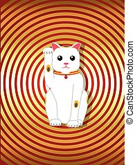 Maneki-Neko Cartoon Statue Vector Illustration