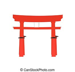Japanese Torii Gate Vector Illustration