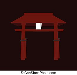 Religious Torii Gate Vector Illustration